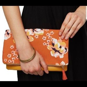 Rachel Pally reversible clutch yellow & floral